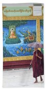 Monks In Rain At Shwedagon Paya Temple Yangon Myanmar Beach Towel