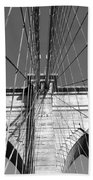 Monochromatic View Of Brooklyn Bridge Beach Towel