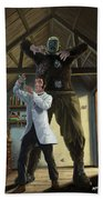 Monster In Victorian Science Laboratory Beach Towel