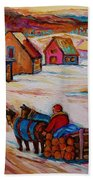 Mont St.hilaire Winter Scene Logger Heading Home To Quebec Village Winter Landscape Carole Spandau Beach Towel