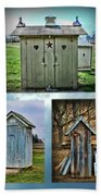 Montage Of Outhouses Beach Towel