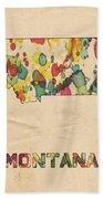 Montana Map Vintage Watercolor Beach Towel