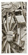 Montana Old Wagon Wheels In Sepia Beach Towel