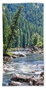 Montana River And Trees Beach Towel