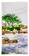 Monterey- California Sketchbook Project Beach Towel