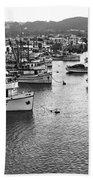 Monterey Harbor Full Of Purse-seiner Fishing Boats California 1945 Beach Towel