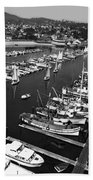 Monterey Marina With Fishing Boats In Slips Sept. 4 1961  Beach Towel
