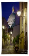 Montmartre Street And Sacre Coeur Beach Towel