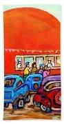 Montreal Art Orange Julep Paintings Montreal Summer City Scenes Carole Spandau Beach Towel