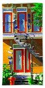 Montreal Art Seeing Red Verdun Wooden Doors And Fire Hydrant Triplex City Scene Carole Spandau Beach Towel