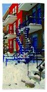 Montreal Art Streets Of Verdun Winter Scenes Winding Staircases Snowscenes Carole Spandau Beach Towel