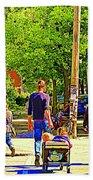 Montreal Art Summer Cafe Scene Rue Laurier Family Day Wagon Ride City Scene Art By Carole Spandau Beach Towel