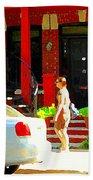 Montreal Art Summer Stroll On A Sunny Morning Colorful Street Verdun City Scene Carole Spandau Beach Towel