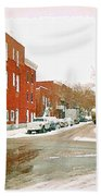 Montreal Art Winter Street Scene Painting The Point Psc Rowhouses In January Snow Cspandau Beach Towel