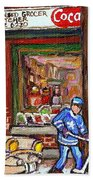 Montreal Hockey Paintings At The Corner Depanneur - Piche's Grocery Goosevillage Psc Griffintown  Beach Towel