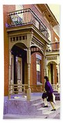 Montreal Memories Pretty Plateau Porches Lady Climbs Front Steps By Bricks Balconies Home Cspandau   Beach Towel
