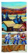 Montreal Memories Rink Hockey In The Country Hockey Our National Pastime Carole Spandau Paintings Beach Towel