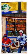 Montreal Pool Room City Scene With Hockey Beach Towel