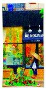 Montreal Rainy Day  Window Shopping Girl With Paisley Umbrella Spa Molinard Laurier  Carole Spandau Beach Towel