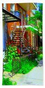 Montreal Stairs Shady Streets Winding Staircases In Balconville Art Of Verdun Scenes Carole Spandau Beach Towel