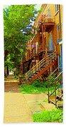 Montreal Stairs Winding Staircases And Sunny Tree Lined Sidewalks Verdun Scenes Carole Spandau  Beach Towel