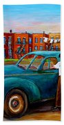 Montreal Taxi Driver 1940 Cab Vintage Car Montreal Memories Row Houses City Scenes Carole Spandau Beach Towel