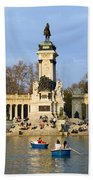 Monument And Lake In Retiro Park In Madrid Beach Towel