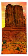 Monument Valley Right Mitten Sunrise Painting Beach Towel