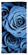 Moody Blue Rose Bouquet Beach Towel