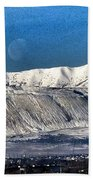 Moon Over The Snow Covered Mountains Beach Towel