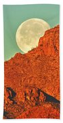Moon Over Tucson Mountains Beach Towel