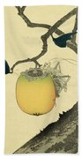 Moon Persimmon And Grasshopper Beach Towel by Katsushika Hokusai