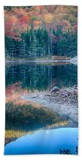 Moon Setting Fall Foliage Reflection Beach Towel