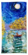 Moonlight Fishing Beach Towel