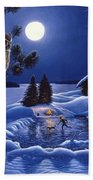 Moonlight Magig-great Horned Owls Beach Towel