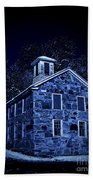 Moonlight On The Old Stone Building  Beach Towel