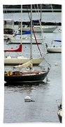 Moored At Kittery Point Maine Beach Towel