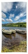 Moored Boats  Beach Towel by Adrian Evans