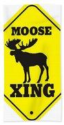 Moose Crossing Sign Beach Towel
