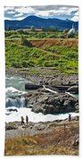 Moricetown Falls And Canyon Fishing Operation On The Bulkley River In Moricetwown-british Columbia  Beach Towel