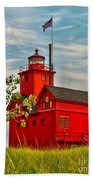 Morning At The Big Red Lighthouse Beach Towel