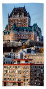 Morning Dawns Over The Chateau Frontenac Beach Towel