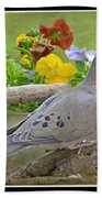 Morning Dove With Pansies Beach Towel