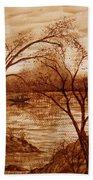 Morning Fishing Original Coffee Painting Beach Towel