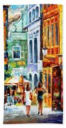 Morning Gossip - Palette Knife Oil Painting On Canvas By Leonid Afremov Beach Towel