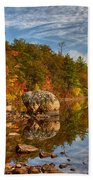 Morning Reflection Of Fall Colors Beach Towel