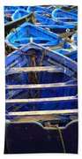 Moroccan Blue Fishing Boats Beach Towel