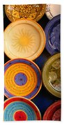 Moroccan Pottery On Display For Sale Beach Towel