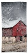 Morris County Red Barn In Snow Beach Towel