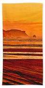 Morro Rock Painting Beach Towel